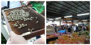 Honey Bee Farm adalah tujuan selanjutnya. Ini adalah proyek resmi raja dan ratu, untuk melestarikan lebah dan madu Thailand. Saya beli Royal Jelly di sini, botol kecil 150 ml seharga 1200 Bath. Senang belanja di sini, soalnya mereka juga terima visa dan terima rupiah!  Dari tempat madu, kami pergi ke Yen Chip Dried Food (gbr kanan). Selain buah, juga jual ikan yang dikeringkan, abon babi (Jangan main cicipi saja ya, baca dulu. Soalnya banyak produk babinya di sini), juga bumbu-bumbu kering Thai, termasuk bumbu Tomyam (saya beli dong pastinya...)