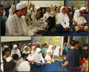@Anjari (baju biru) memperkenalkan apa itu blog pada mereka. Gayanya rame dan humoris, anak-anak kelihatan hepi.