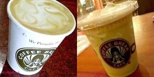 Kiri: Easy Latte. Kanan: Orange Tea (salah 1 menu fave di Coffee Break)
