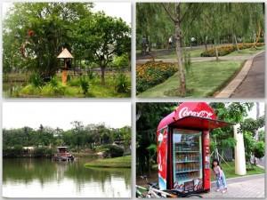 Ki atas: Simpanse di pulau. Ka atas: taman dan jalur sepeda. Ki bawah: Dermaga cruise. Ka bawah: vending machine... Rp.10rb each..