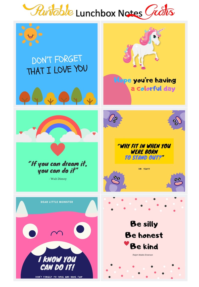 Printable Notes for Lunch