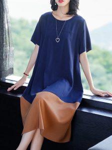 blue round neck contrast dress